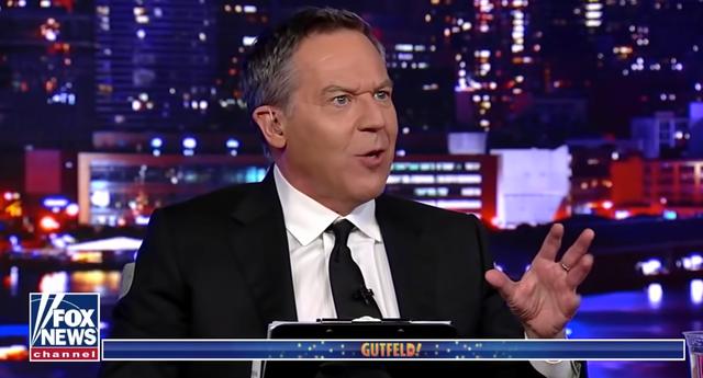 <p>Greg Gutfeld, pictured on his late-night show on Fox News</p>