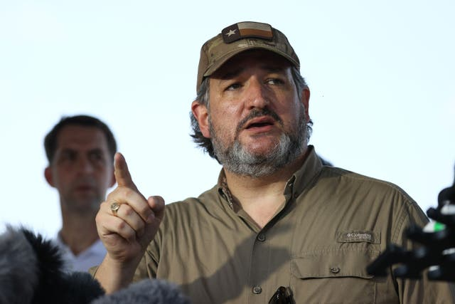 <p>Sen. Ted Cruz (R-TX) speaks to the media after a tour of part of the Rio Grande river on a Texas Department of Public Safety boat on March 26, 2021 in Mission, Texas</p>
