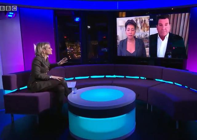 Ex-Fox host Eric Bolling debates political commentator Aisha Mills on BBC Newsnight