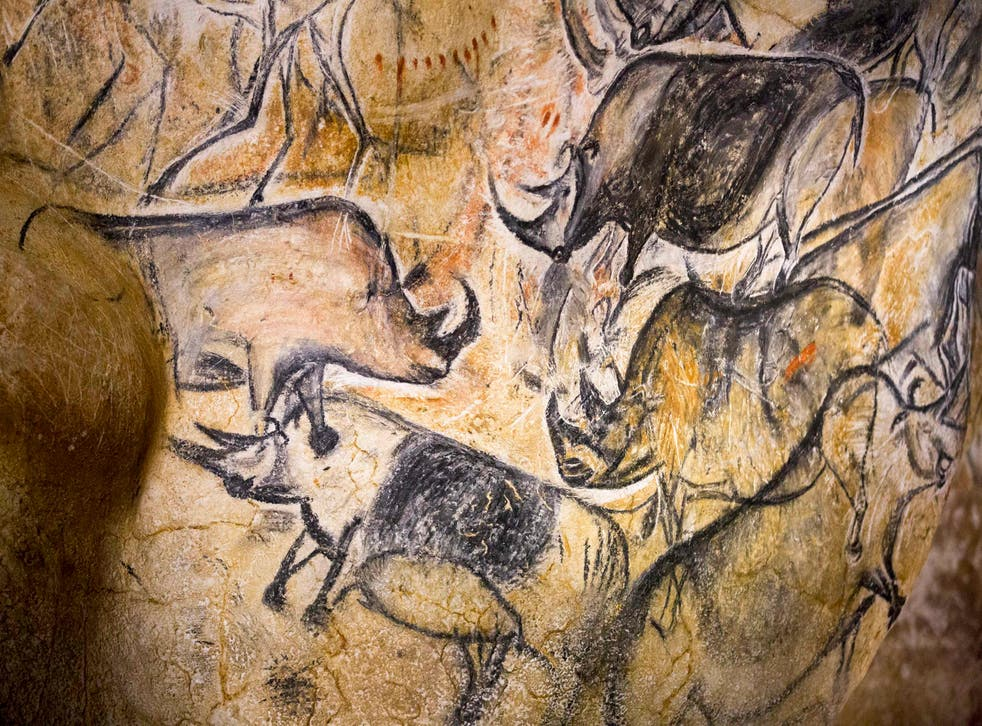 A replica of pre-historic animals drawings on a wall at the site of the Cavern of Pont-d'Arc project in Vallon Pont d'Arc, France