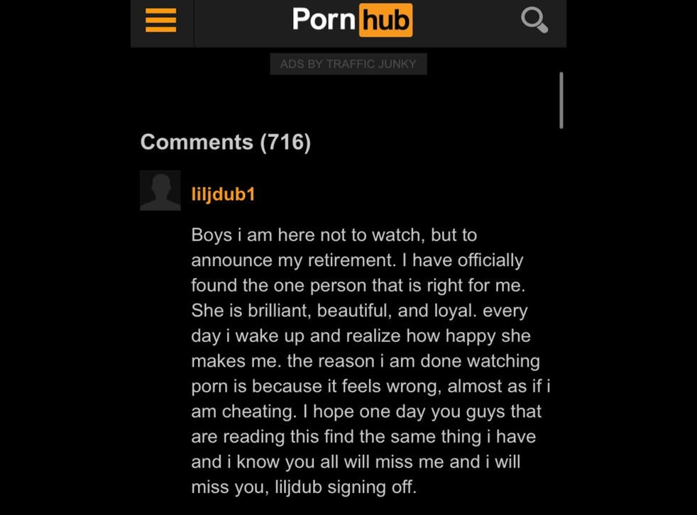 <p>The loved-up Pornhub user announced his 'retirement' from the site</p>