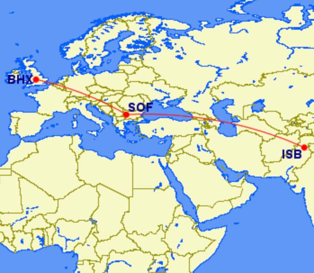 Mystery tour: The flightpath of GullivAir from Islamabad via Sofia to Birmingham