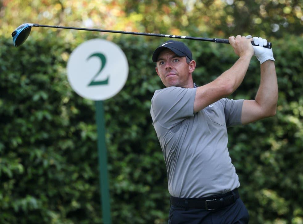 Rory McIlroy hits a tee shot