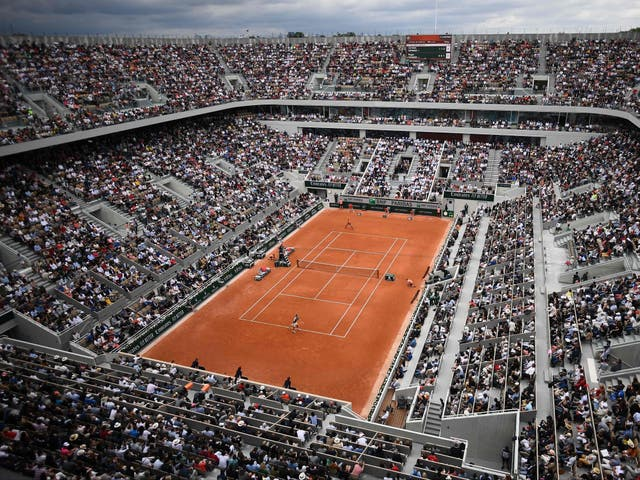 A general view of the Philippe Chatrier court at Roland Garros