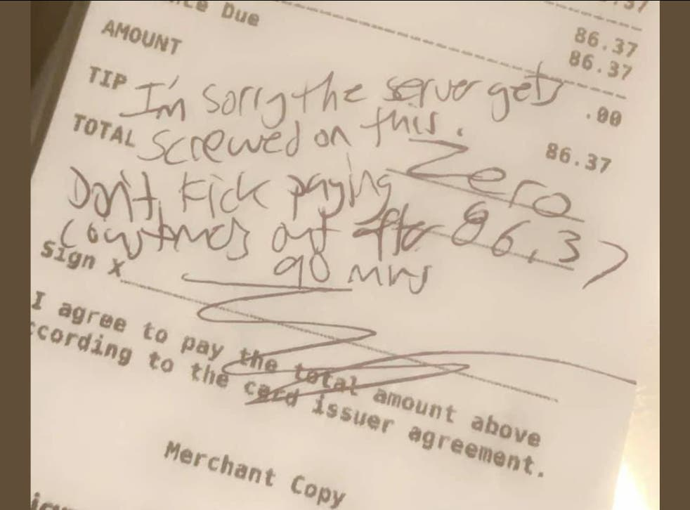 <p>The customers wrote that they were 'sorry the server gets screwed' because of the restaurant's policy</p>