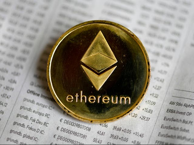 <p>The photo shows a physical imitation of a Ethereum cryptocurrency in Dortmund, western Germany, on 27 January, 2020</p>