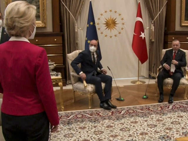 <p>During the talk about Turkey-EU relations, the three were led to a large room for discussions to find there was only two chairs set out for the three leaders</p>