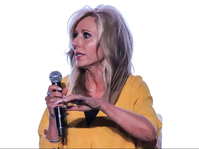 Author and speaker Beth Moore speaks during a panel on sexual abuse in Birmingham, Alabama on June 10, 2019.