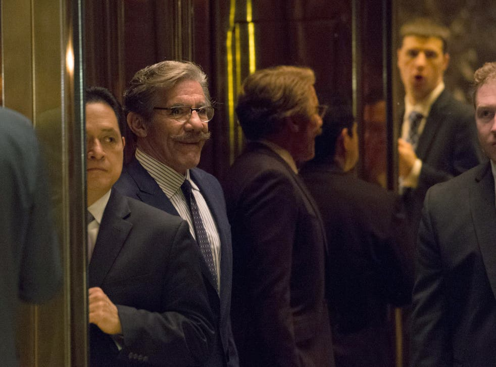 <p>Geraldo Rivera arrives for a meeting with President-elect Donald Trump AT Trump Tower on January 13, 2017 in New York.</p>