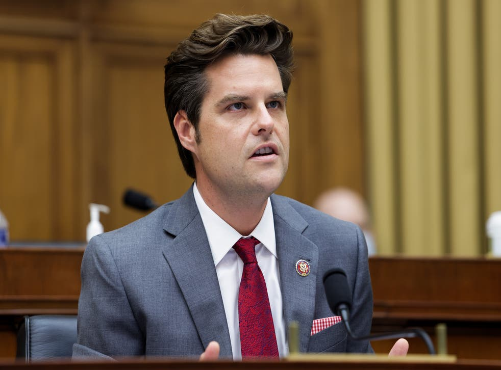 <p>Matt Gaetz speaks during the House Judiciary Subcommittee on Antitrust, Commercial and Administrative Law hearing on 29 July, 2020</p>