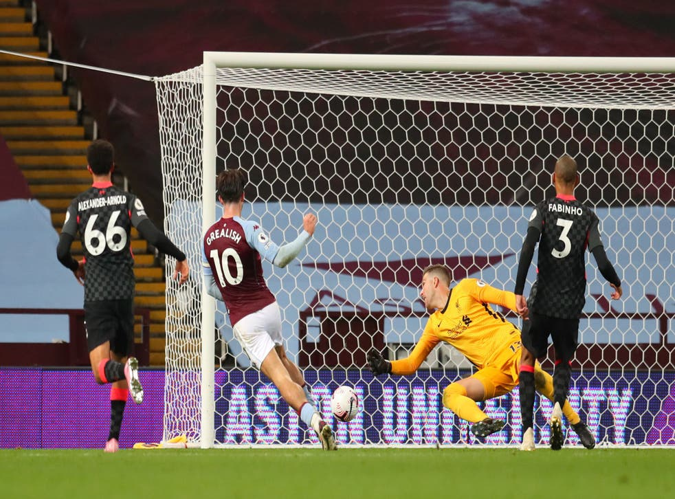 Jack Grealish scores Villa's seventh goal against Liverpool in October