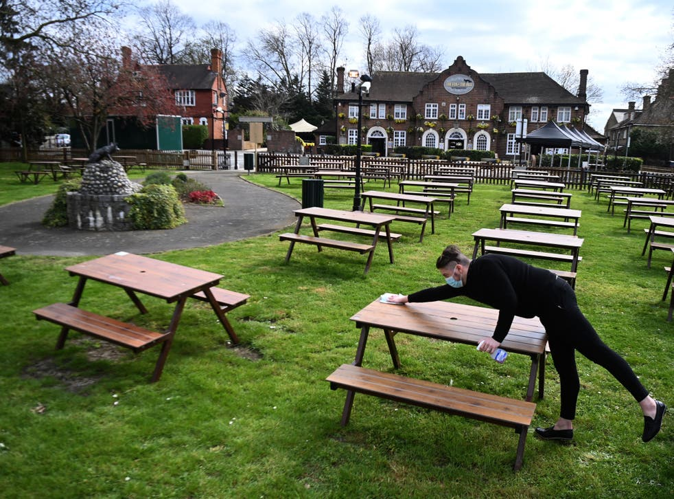 """<p>Rainy weather spells bad news for punters hoping to get their <a href=""""https://www.independent.co.uk/news/uk/politics/lockdown-roadmap-pubs-reopen-weddings-b1805714.html"""">first pint in a beer garden</a> this year </p>"""