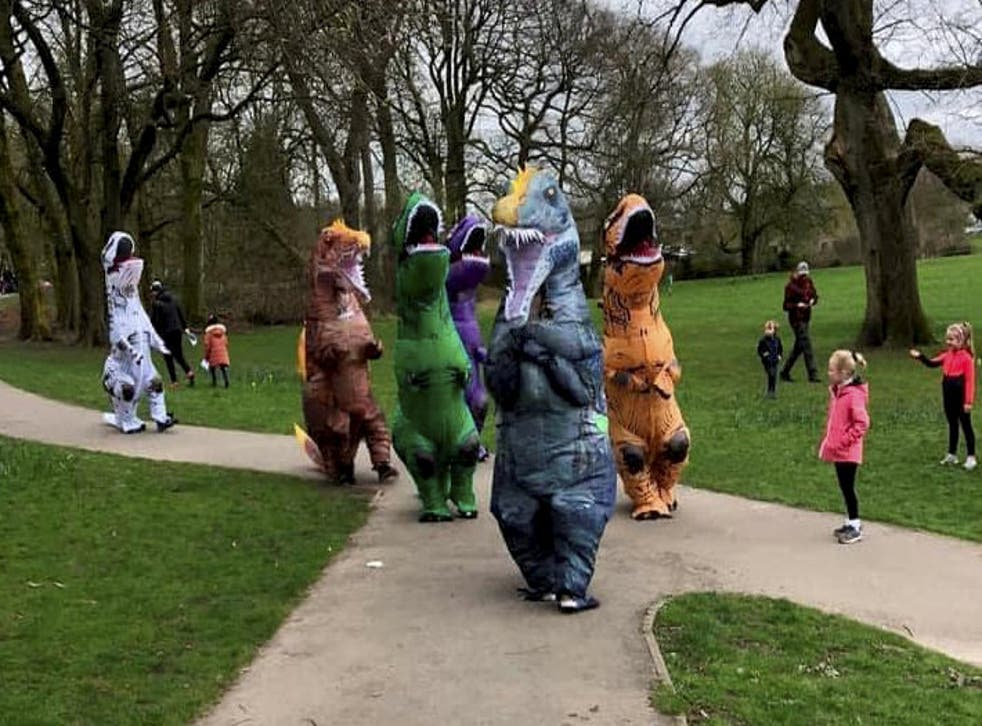 <p>Samantha Clarkson and her dinosaur crew were trying to do something funny to cheer people up </p>