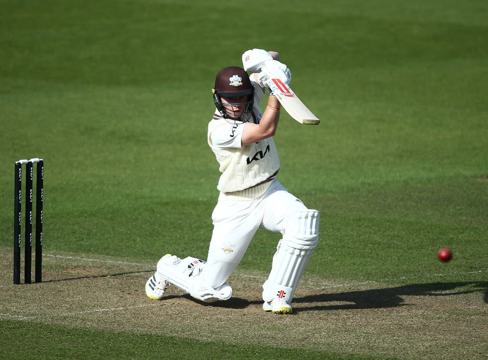 Ollie Pope in action for Surrey during a pre-season friendly