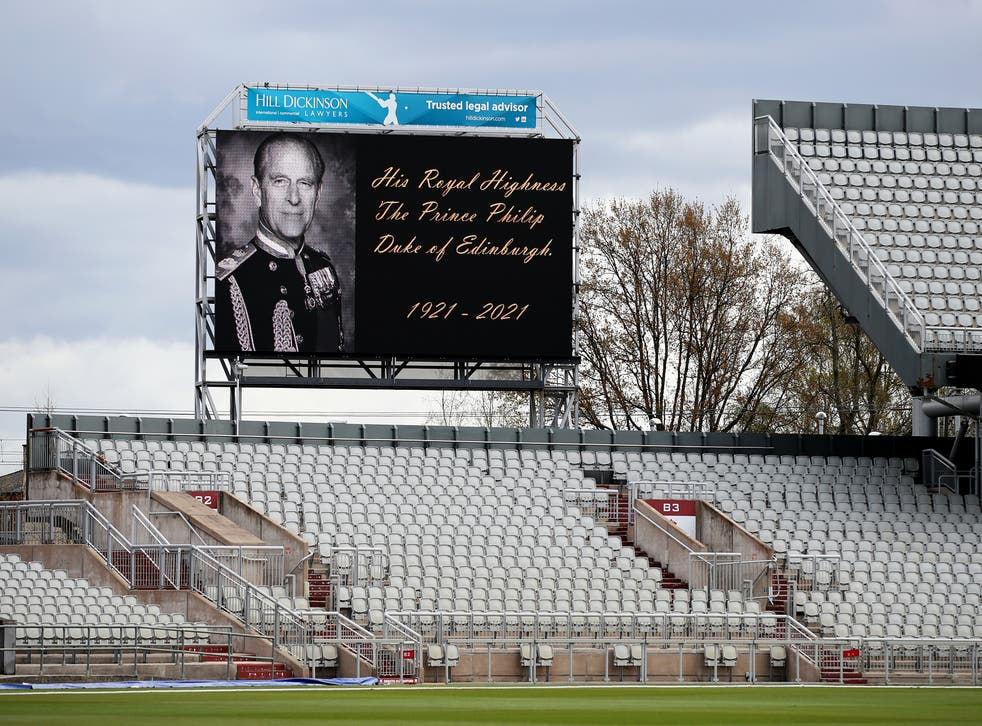A screen at Sussex and Lancashire's County Championship match, showing a tribute to Prince Philip