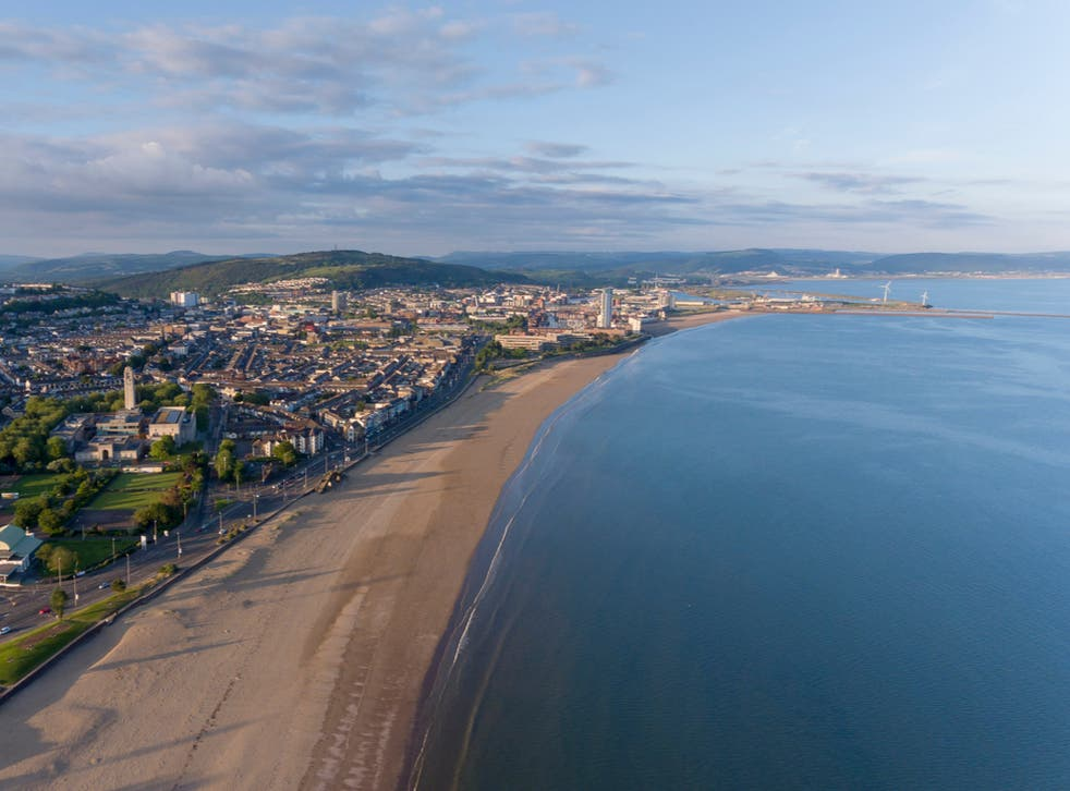 An aerial view of Swansea Bay