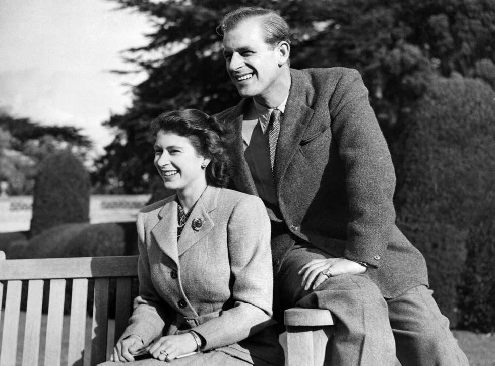 <p>Posing during their honeymoon in 1947 on Broadlands estate, Hampshire</p>