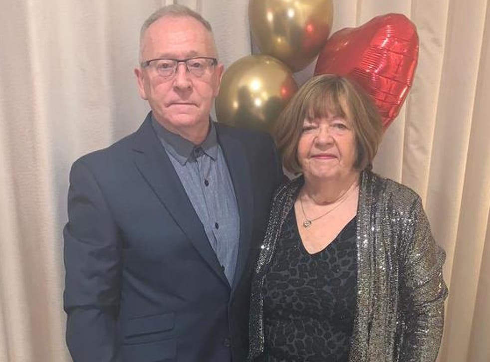 <p>Elizabeth Webb, pictured with her husband, Steven, had unnecessary surgery at the hands of Ian Paterson</p>
