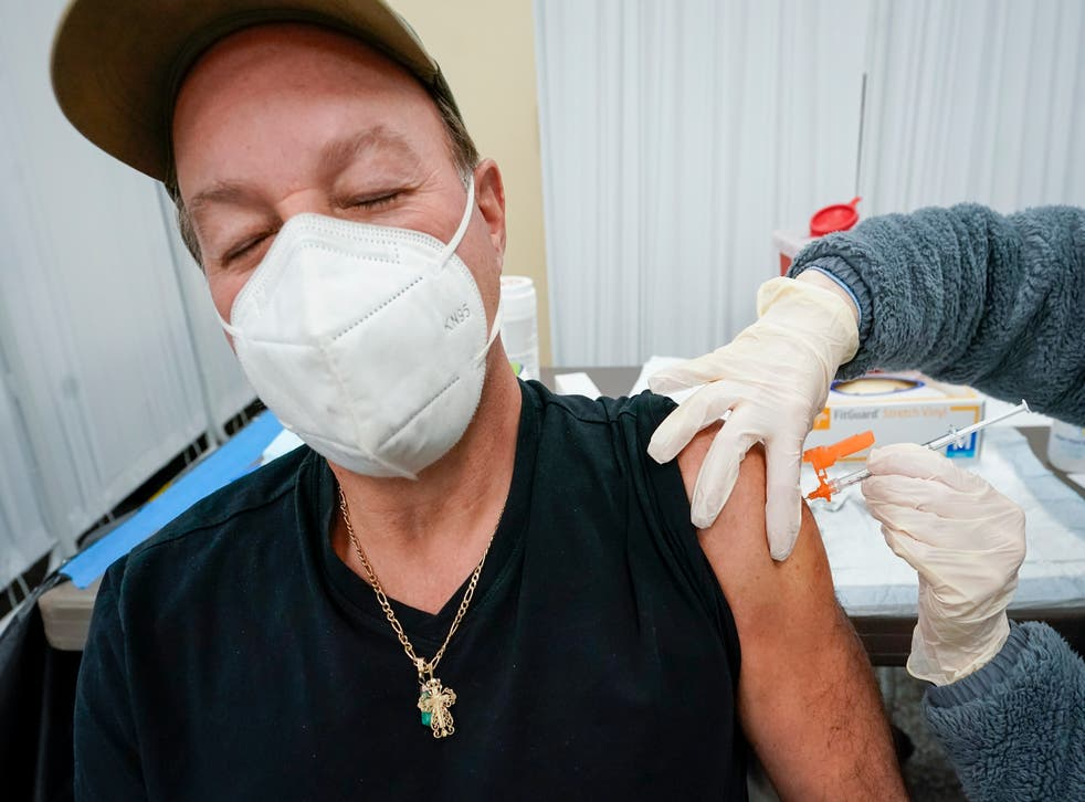 A Johnson & Johnson vaccine dose is administered in Staten Island, New York on Thursday