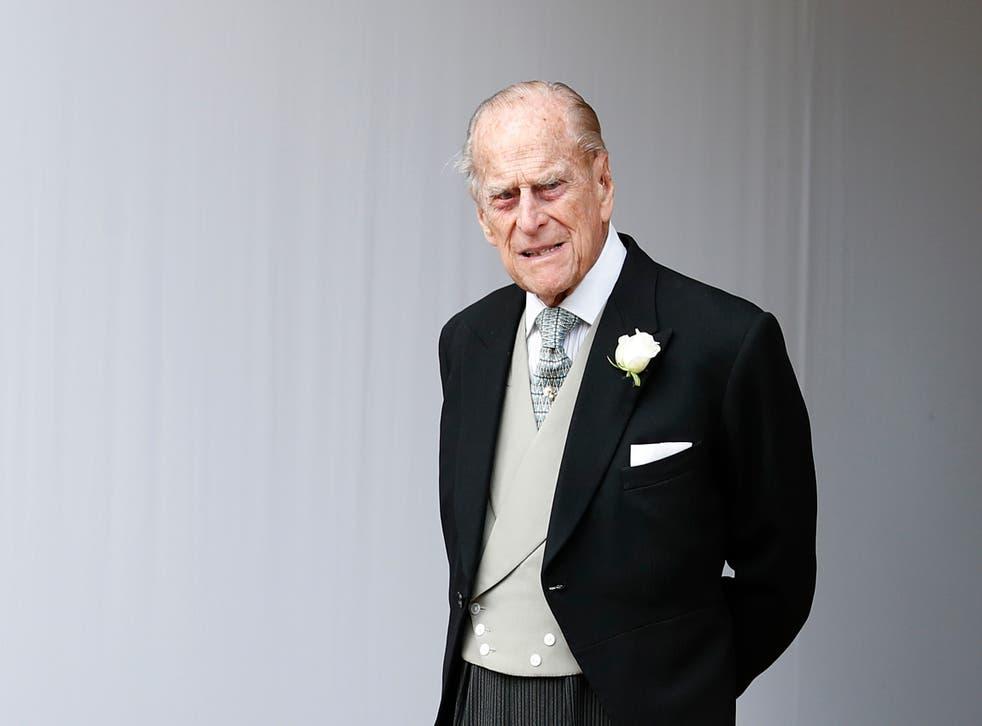 <p>The Duke of Edinburgh at the wedding of Princess Eugenie in 2018</p>