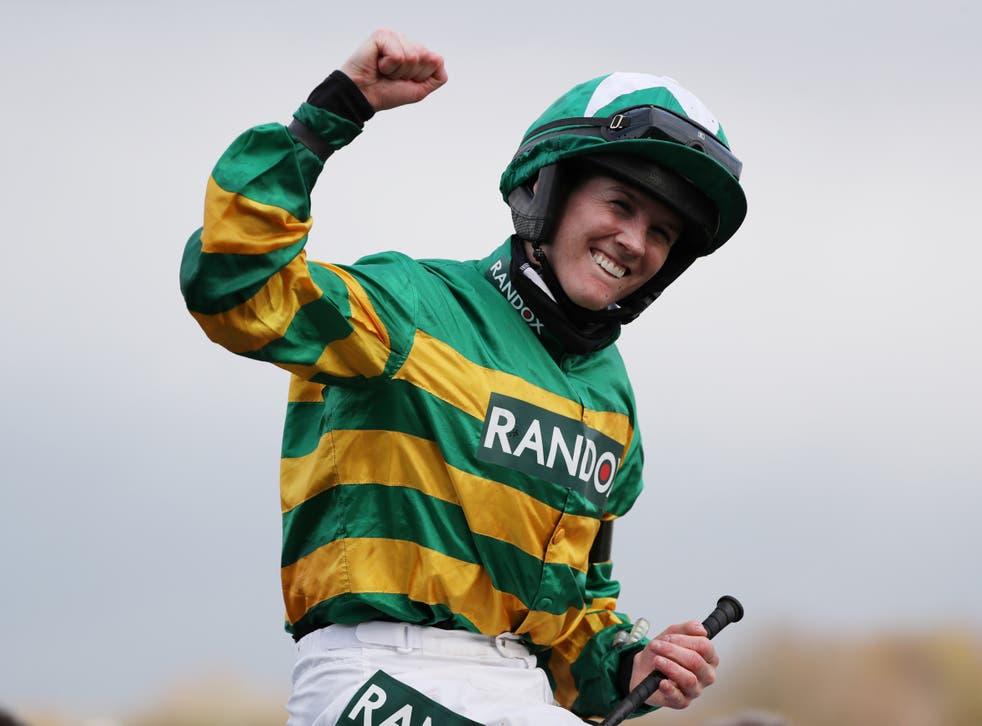 Rachael Blackmore celebrates winning the Grand National