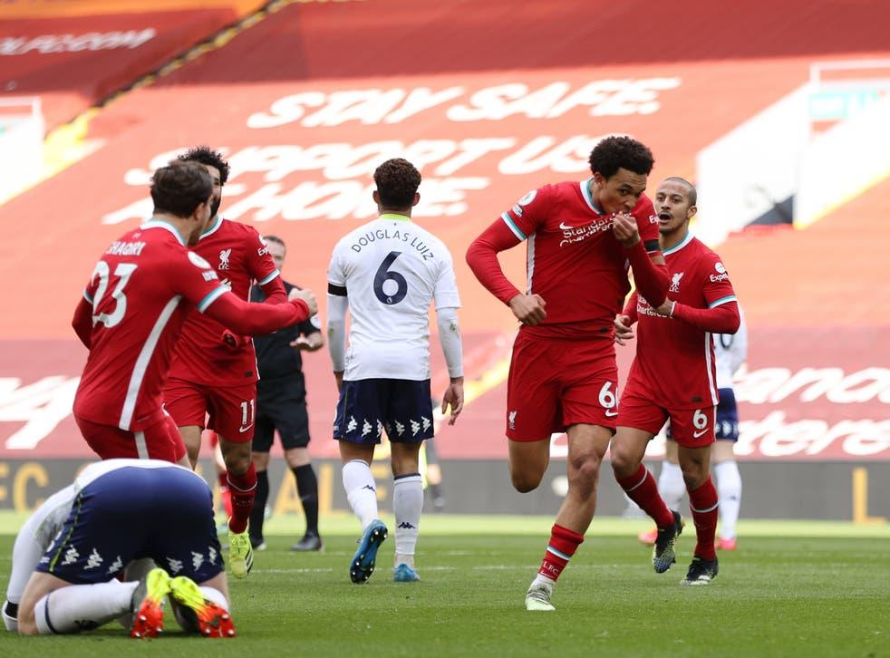 <p>Trent Alexander-Arnold of Liverpool celebrates after scoring</p>
