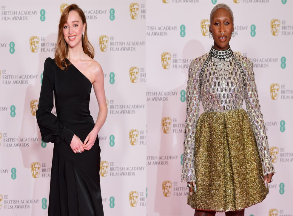 Composite of Phoebe Dynevor and Cynthia Erivo at the Baftas