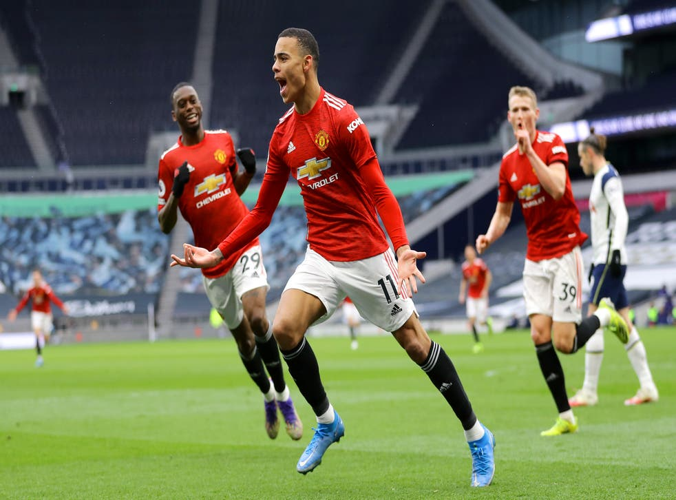 Mason Greenwood celebrates after scoring United's third