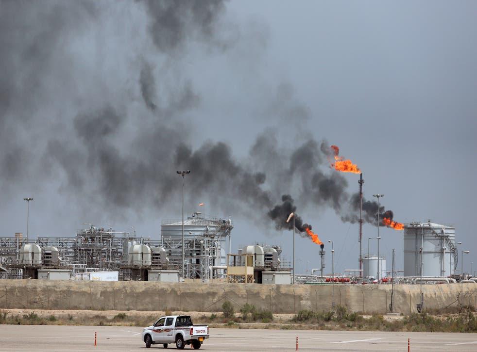A view shows the Iraq's Majnoon oilfield near Basra