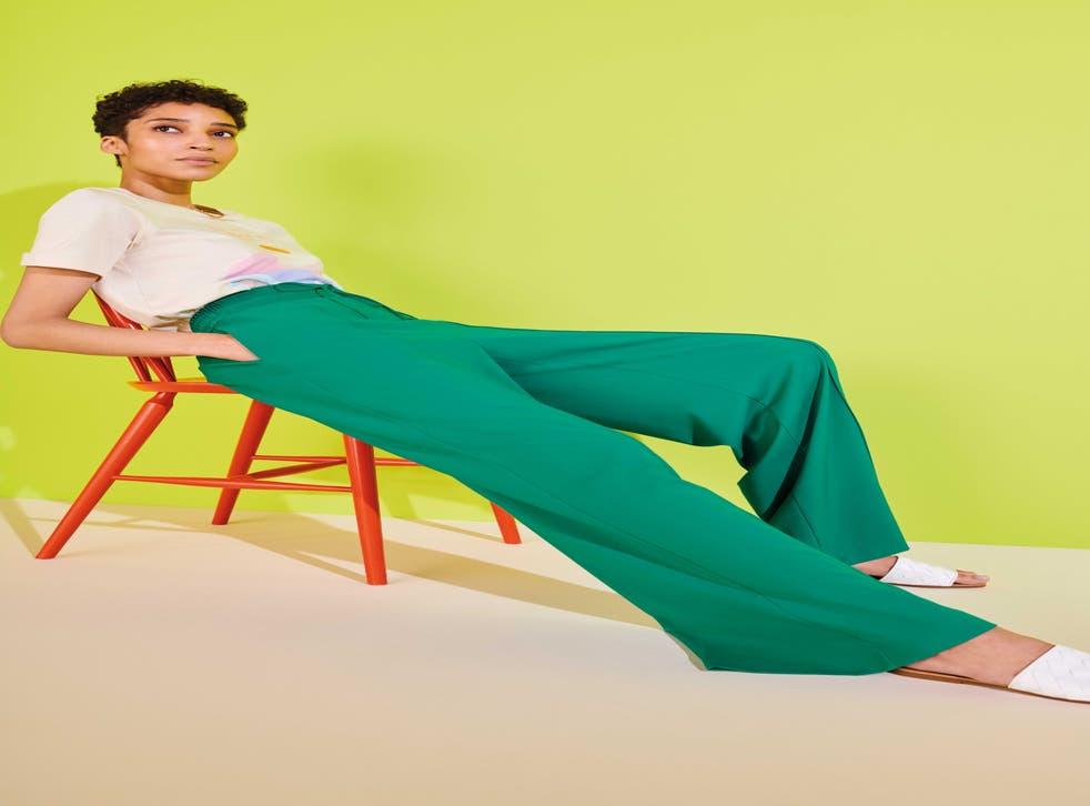 model posing in trousers