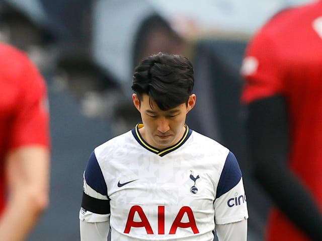 Tottenham midfielder Son Heung-min ahead of Sunday's kick-off with Man United