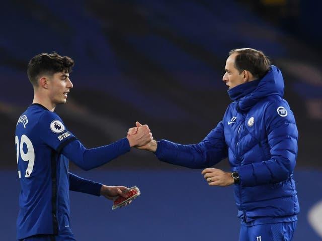 Chelsea midfielder Kai Havertz (left) with coach Thomas Tuchel