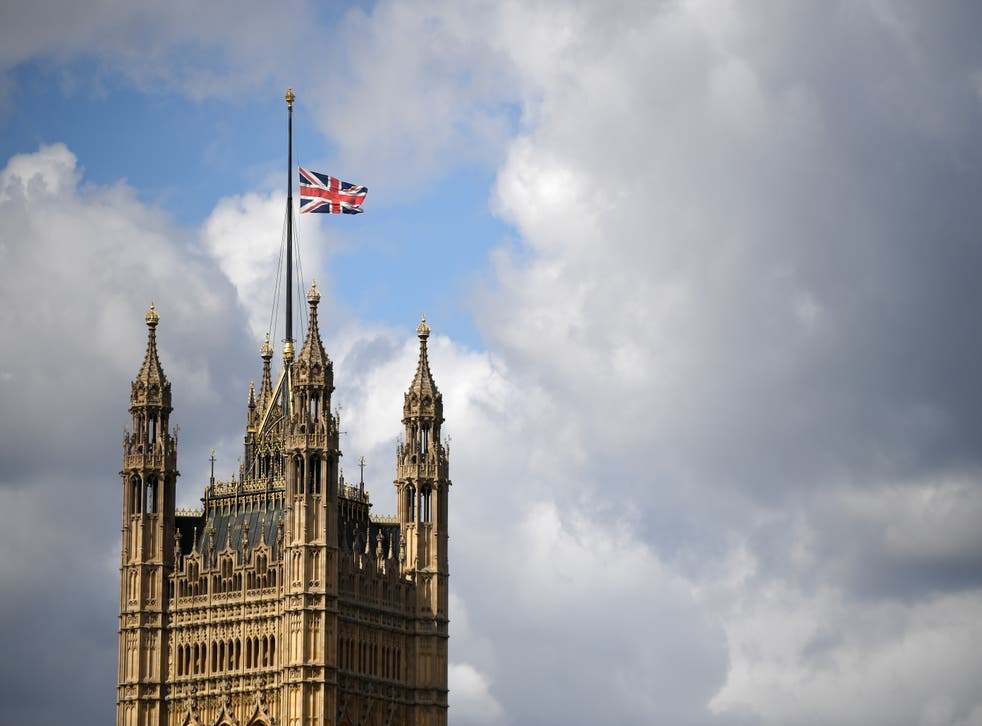The flag is flown at half mast above the Houses of Parliament in observance of the death of Prince Philip
