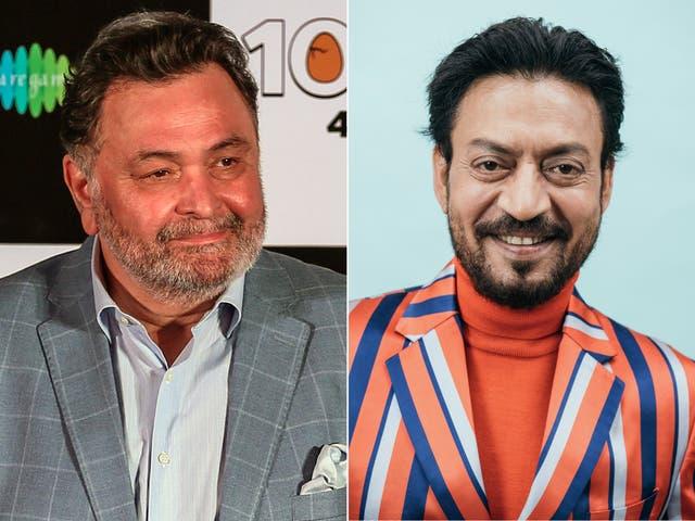<p>File image: Late Bollywood actors Rishi Kapoor and Irrfan Khan</p>