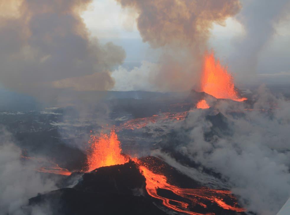 An eruption at the Holuraun lava field in September 2014