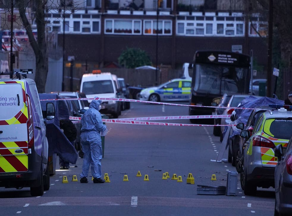 <p>Police at the scene of the killing of 14-year-old Jayden Moodie, one of 62 Black murder victims in London in 2019</p>