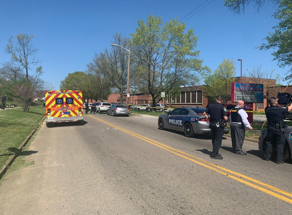 Knoxville Police on the scene of a shooting at Austin-East Magnet High School