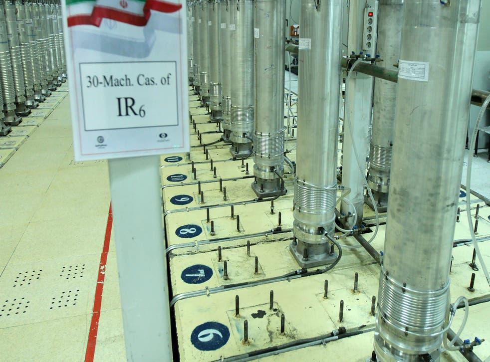 <p>Centrifuge machines in the Natanz uranium enrichment facility in central Iran</p>