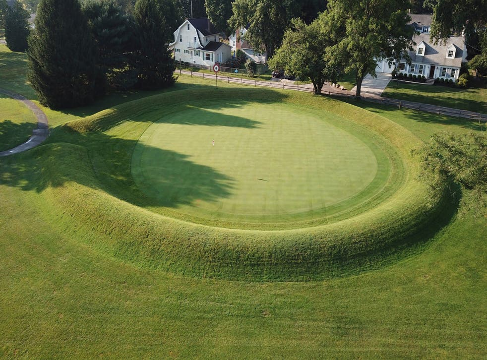 <p>This photo made on July 30, 2019 shows a 155 ft. diameter circular enclosure around hole number 3 at Moundbuilders Country Club at the Octagon Earthworks in Newark, Ohio.</p>