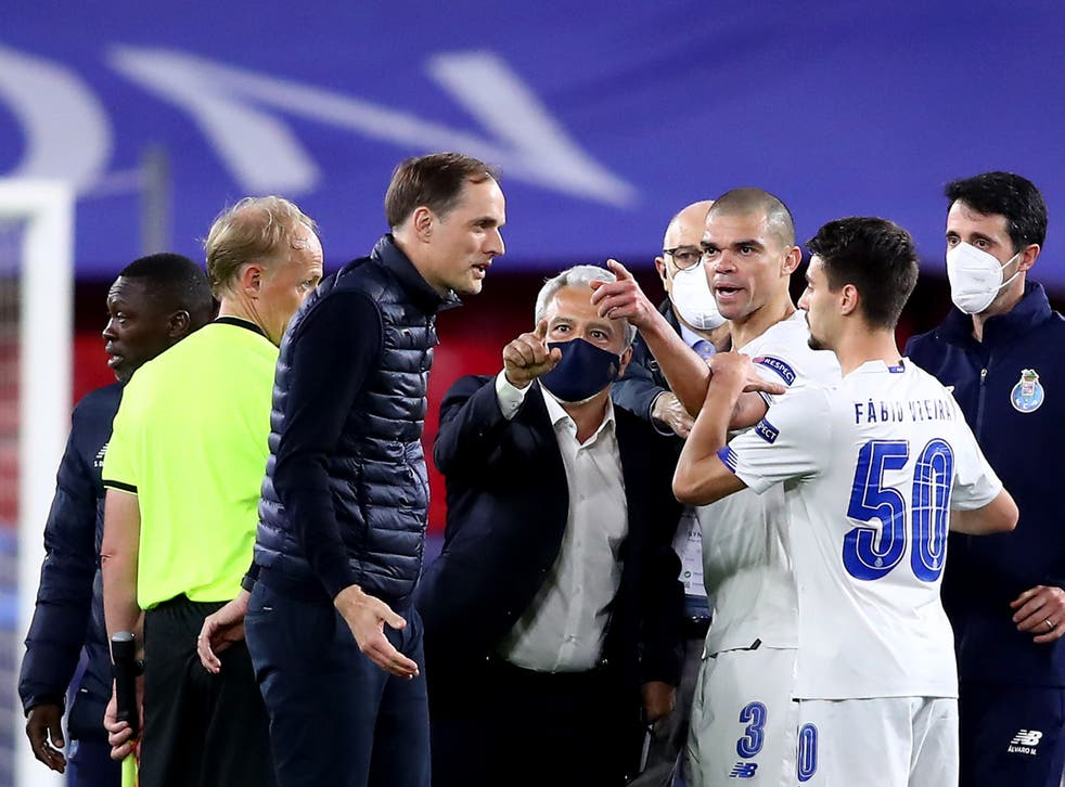 Thomas Tuchel (centre left) at full-time in Seville, where Chelsea defeated Porto over two legs