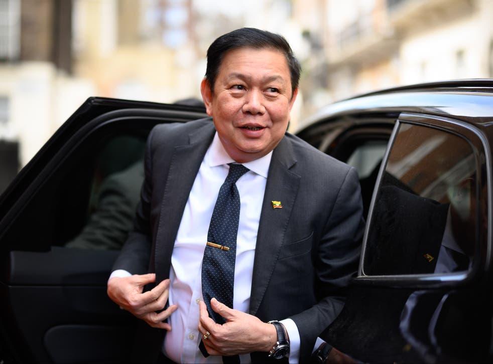 The former diplomat arrives outside the Myanmar Embassy, in London, on 8 April