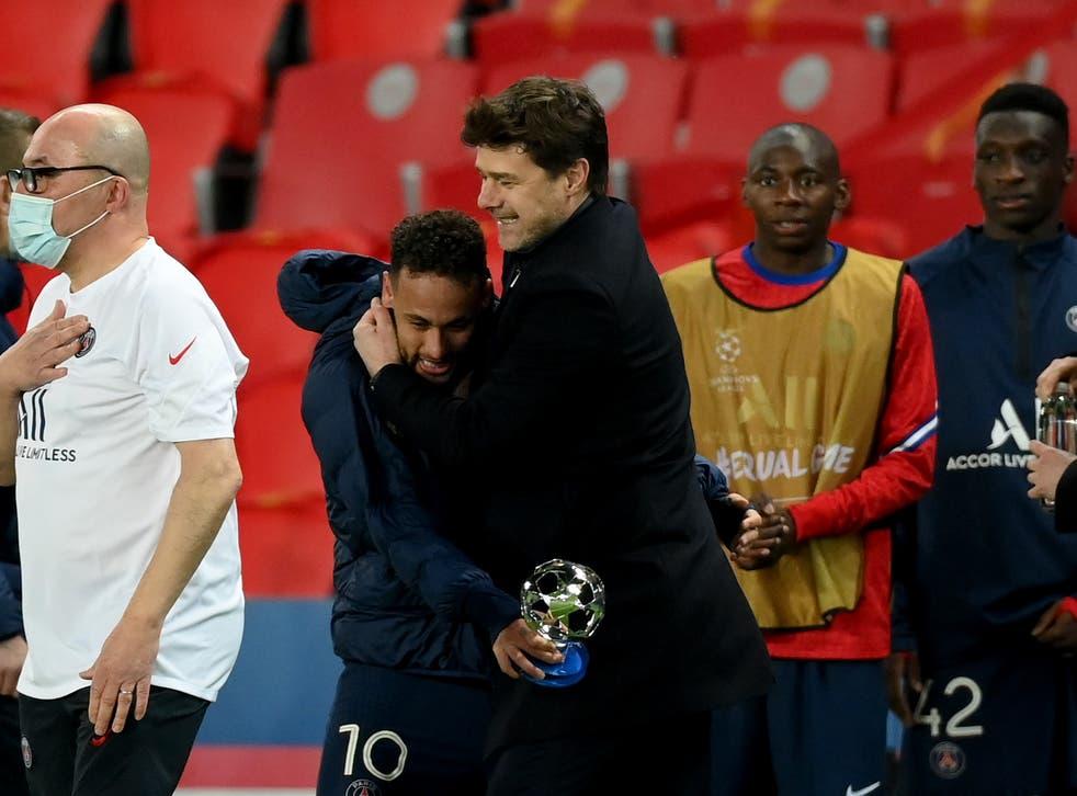 Paris Saint-Germain coach Mauricio Pochettino with Neymar