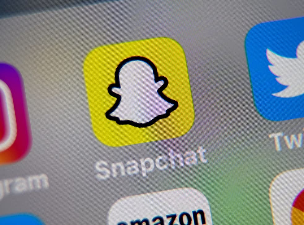 <p>A picture taken on October 1, 2019 in Lille shows the logo of mobile app Snapchat displayed on a tablet.</p>