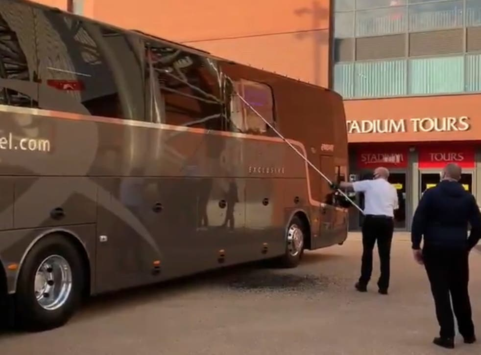 Real Madrid's team bus outside Anfield