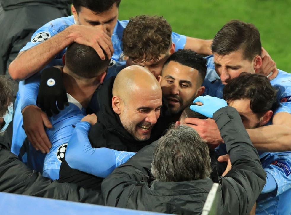 <p>Manchester City celebrate Phil Foden's goal</p>