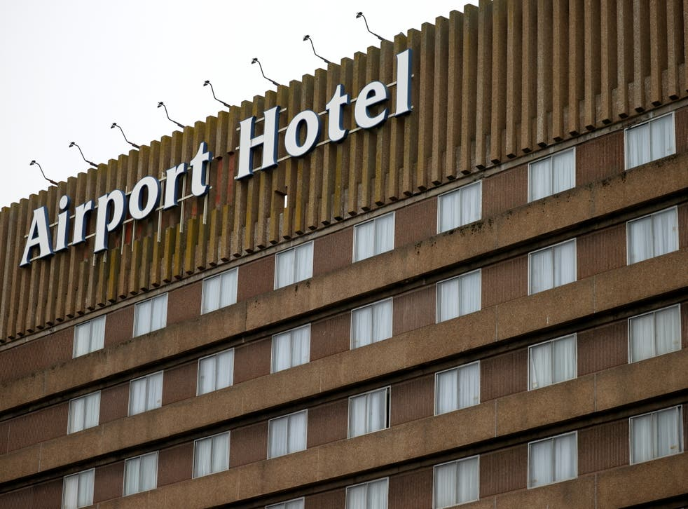 Signage is seen on a hotel near Manchester Airport