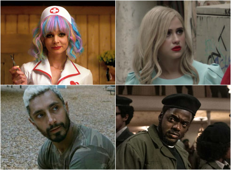 <p>Eyes on the prize: (clockwise, from top left) 'Promising Young Woman', 'Borat Subsequent Moviefilm', 'Judas and the Black Messiah' and 'Sound of Metal' are all in the running for Oscars</p>