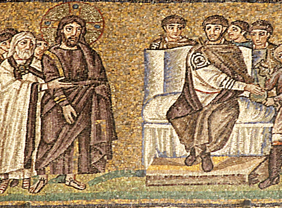 <p>This remarkable mosaic of Pontius Pilate's trial of Jesus is the earliest known image of the event. It is one of a large number of superbly preserved mosaics in the churches of Ravenna, Italy</p>