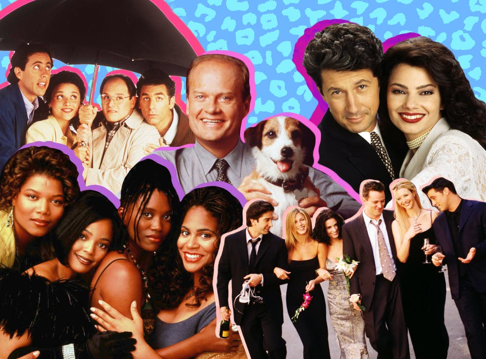 Clockwise from centre: Kelsey Grammer and Moose the dog in Frasier; Charles Shaughnessy and Fran Drescher in The Nanny; the cast of Friends; Queen Latifah, Kim Fields, Erika Alexander and Kim Coles in Living Single (l-to-r); the cast of Seinfeld