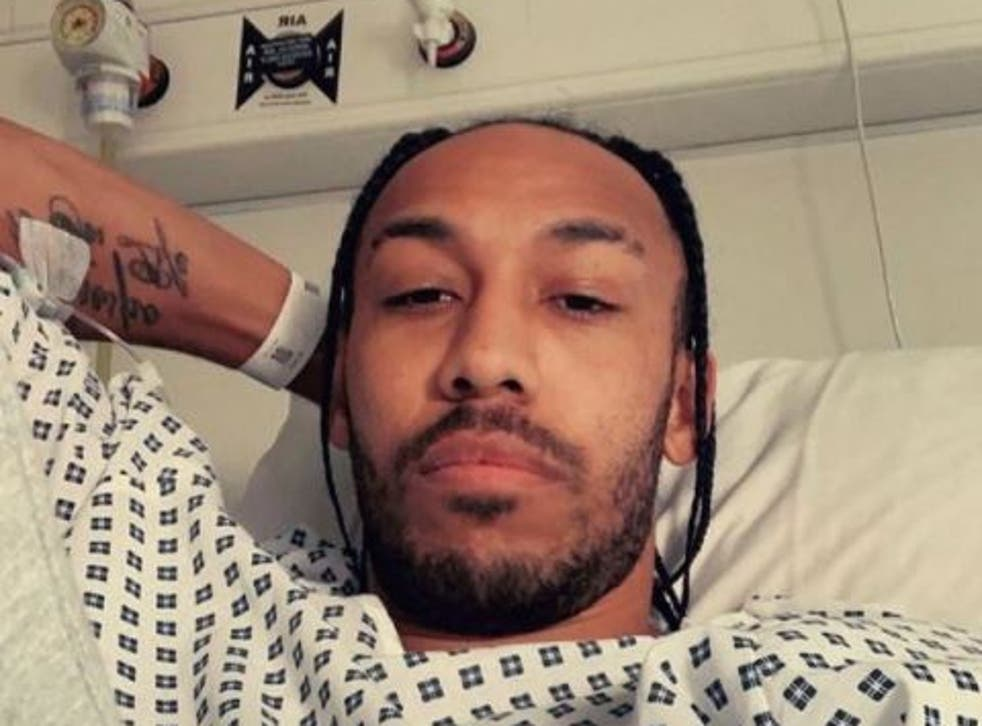 <p>Pierre-Emerick Aubameyang posted an update from hospital last week</p>